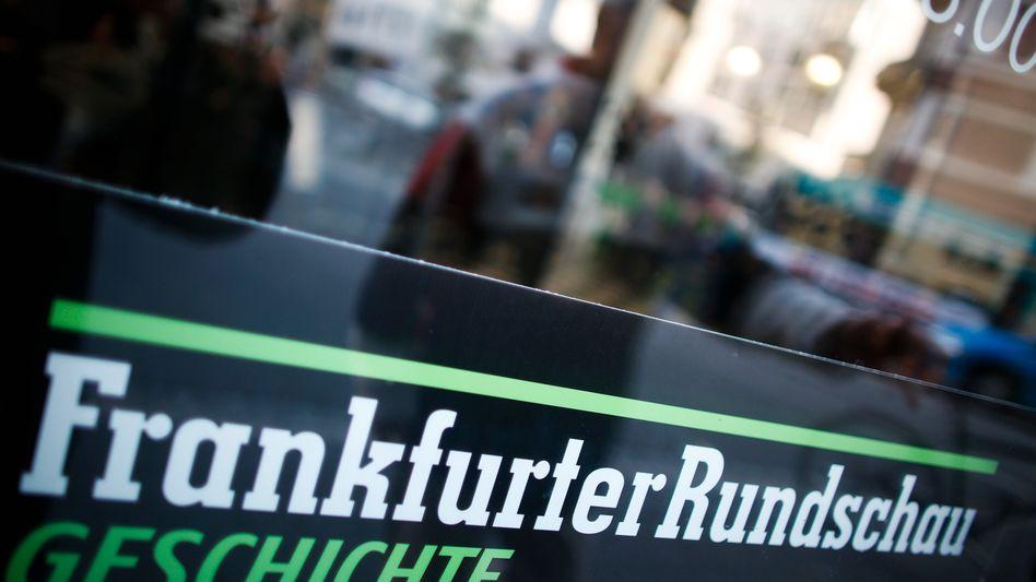 Protestplakat in Frankfurt: Ist die Rundschau bald Geschichte?