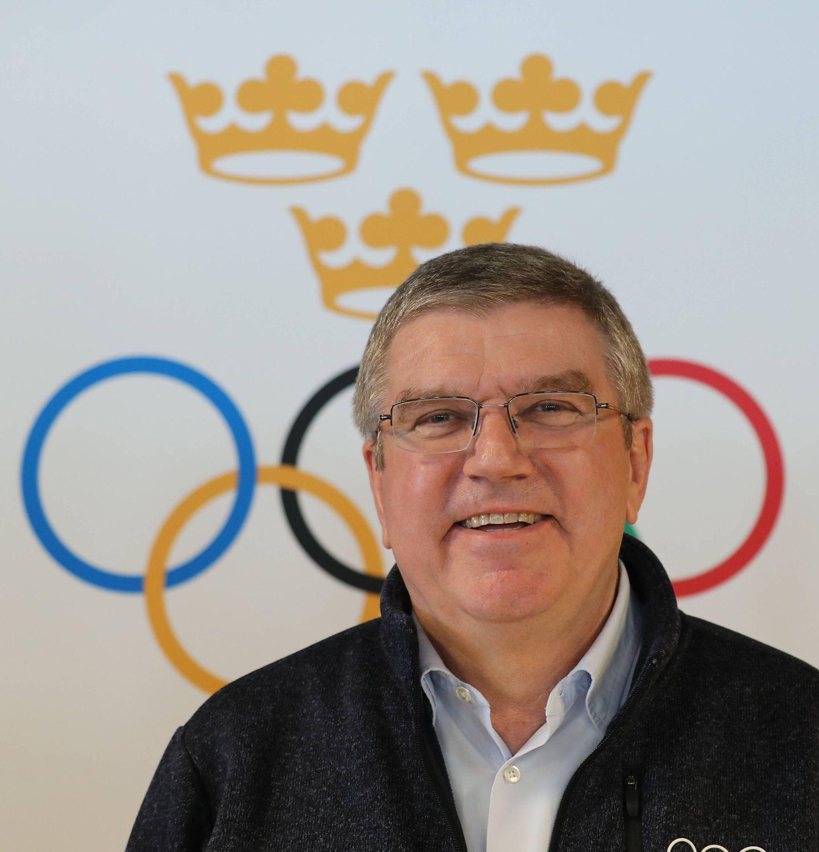 Pressekonferenz von IOC Präsident Thomas Bach anläßlich der Olympia Bewerbung von Schweden Thomas Bach (IOC Präsident)