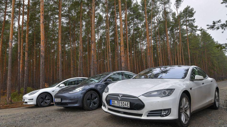 Tesla-Fahrzeuge auf dem Gründstück in Grünheide, auf dem die Fabrik errichtet werden soll
