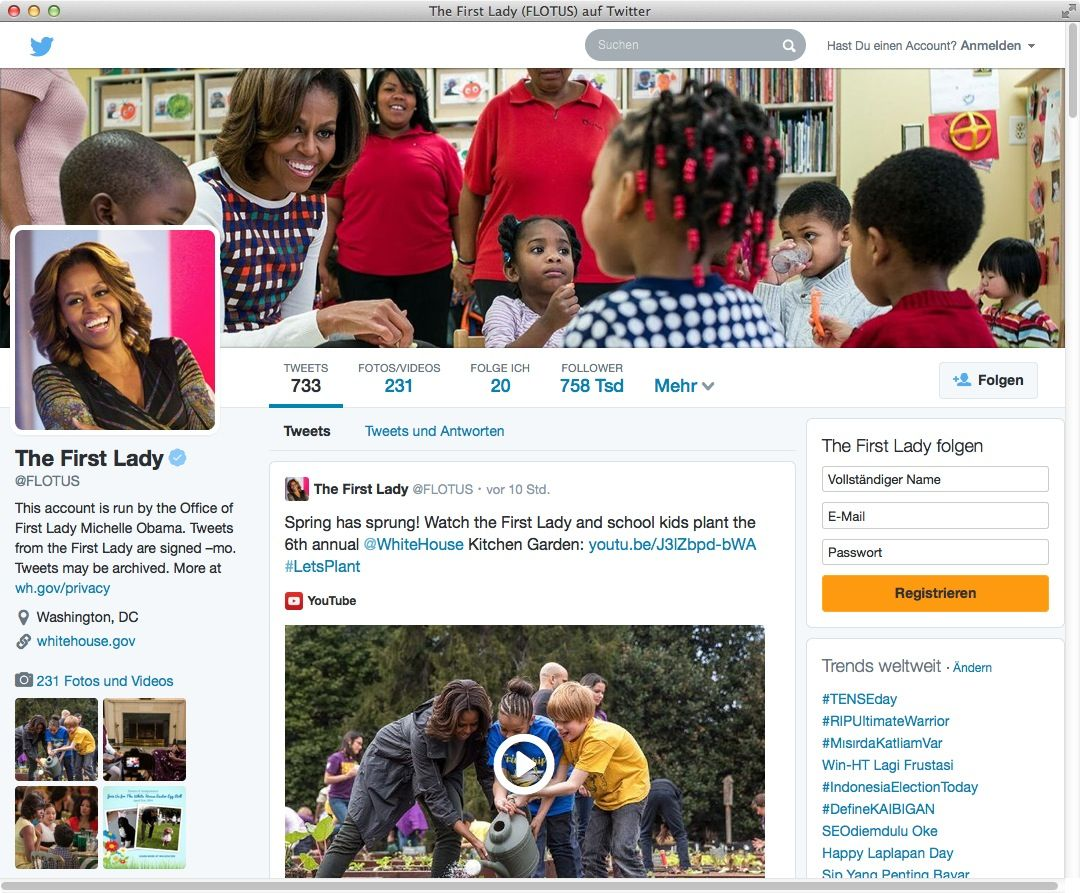 NUR ALS ZITAT Screenshot Twitter/ The First Lady/ Michelle Obama