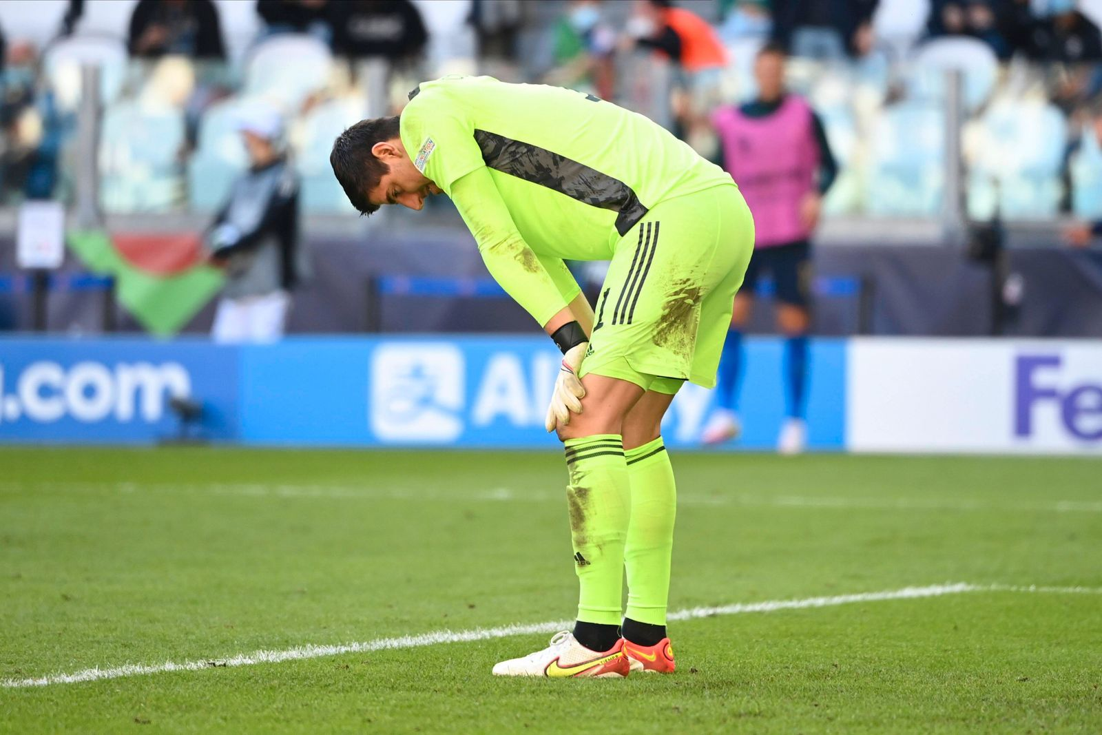 TORINO, ITALY - OCTOBER 10 : Thibaut Courtois goalkeeper of Belgium during to the UEFA Nations League Finals 2021 Third