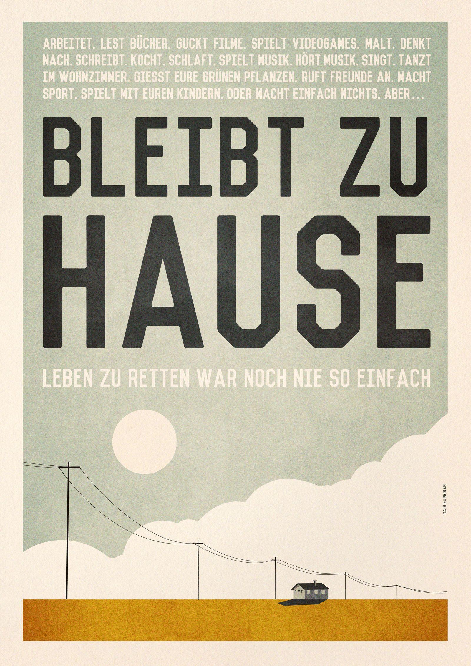 """Mathieu Persan/ Plakat """"Bleibt zu Hause"""""""