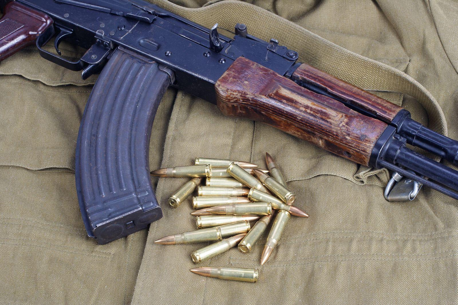 AK47 on khaki uniform background (zm23)