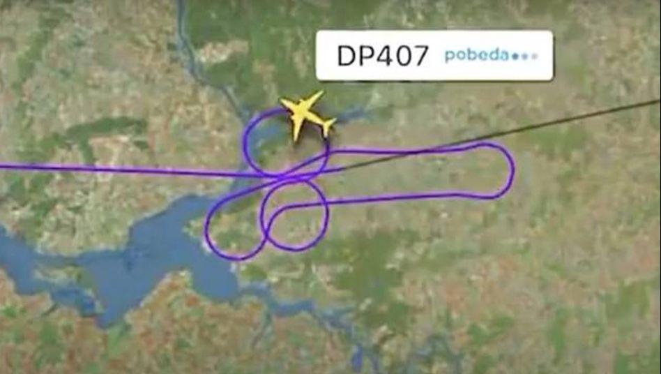 Kein Bild der Montagsmaler, sondern die Route von Flug DP407