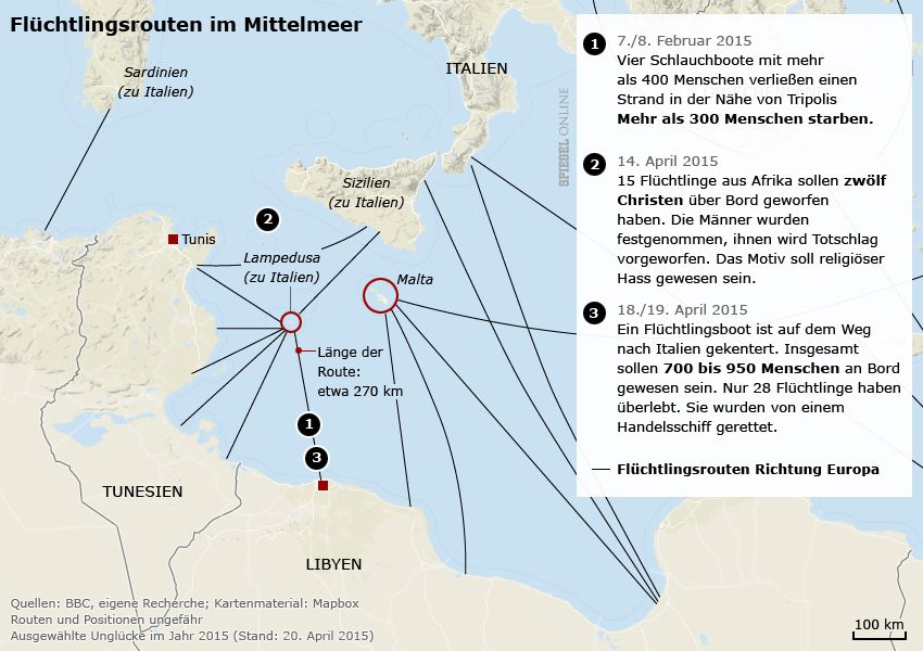 Karte - Flüchtlingsrouten in Europa - Ausgewählte Unglücke 2015