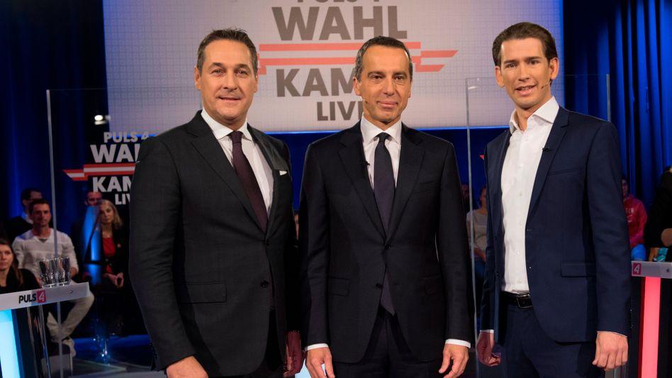 Hein-Christian Strache (FPÖ), Christian Kern (SPÖ), Sebastian Kurz (ÖVP, v.l.)