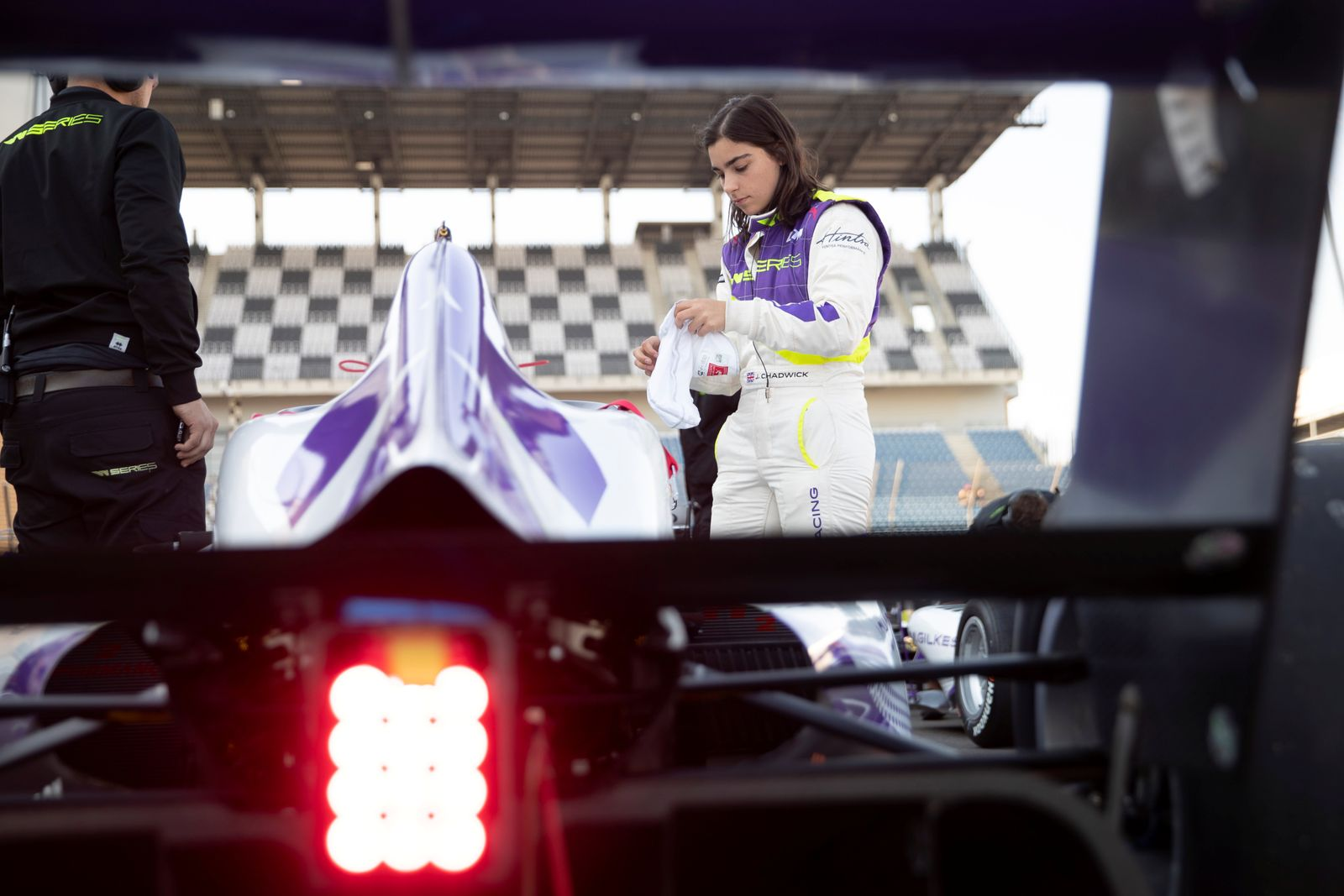 Jamie Chadwick prepares for a test drive during a media day ahead of the inaugural season of the women-only racing series 'W Series' at the Lausitzring in Schipkau
