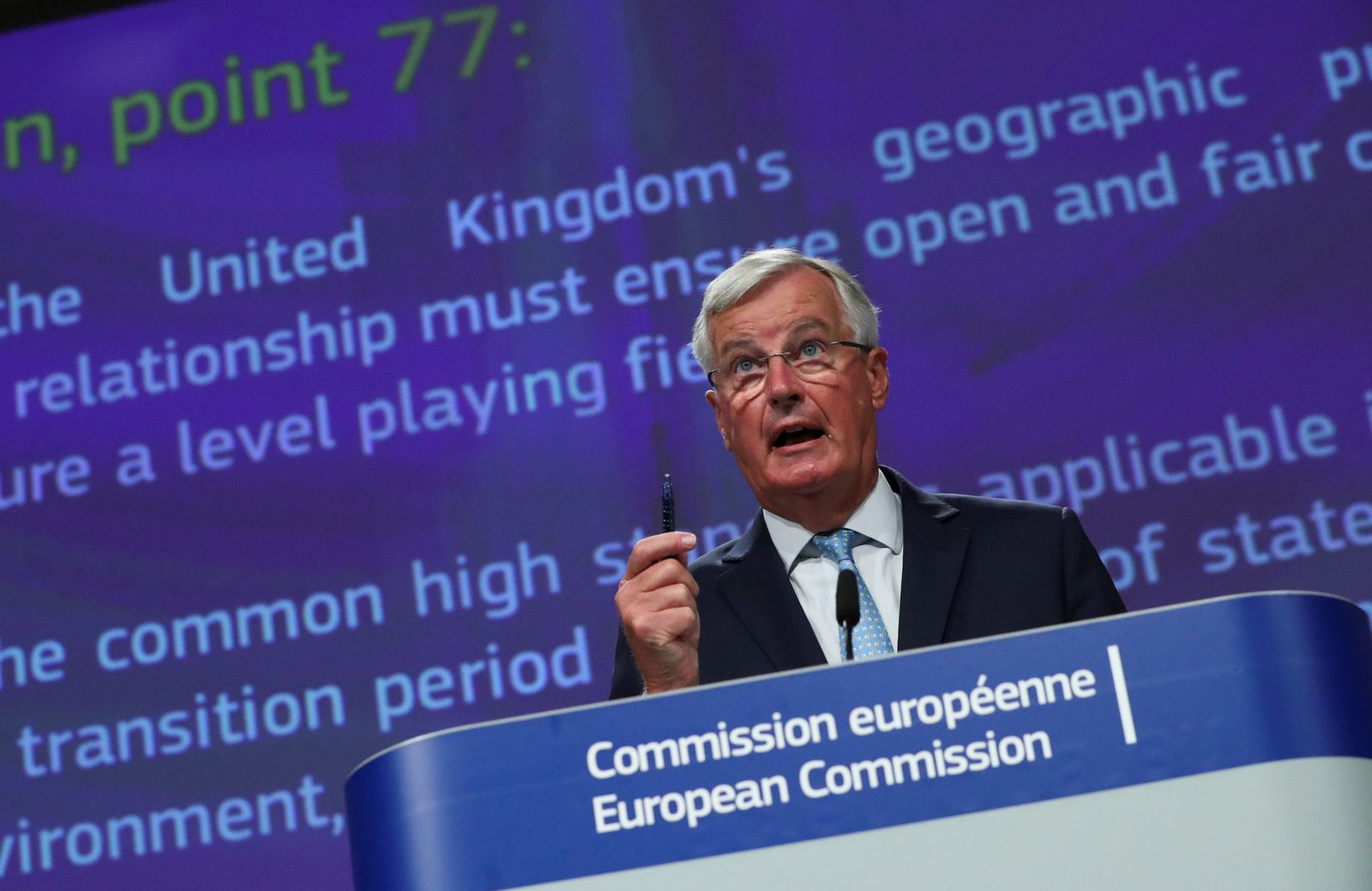EU's Brexit negotiator Michel Barnier holds a news conference in Brussels