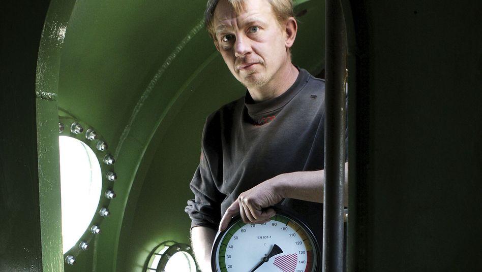 Peter Madsen an Bord der Nautilus (am 30. April 2008)