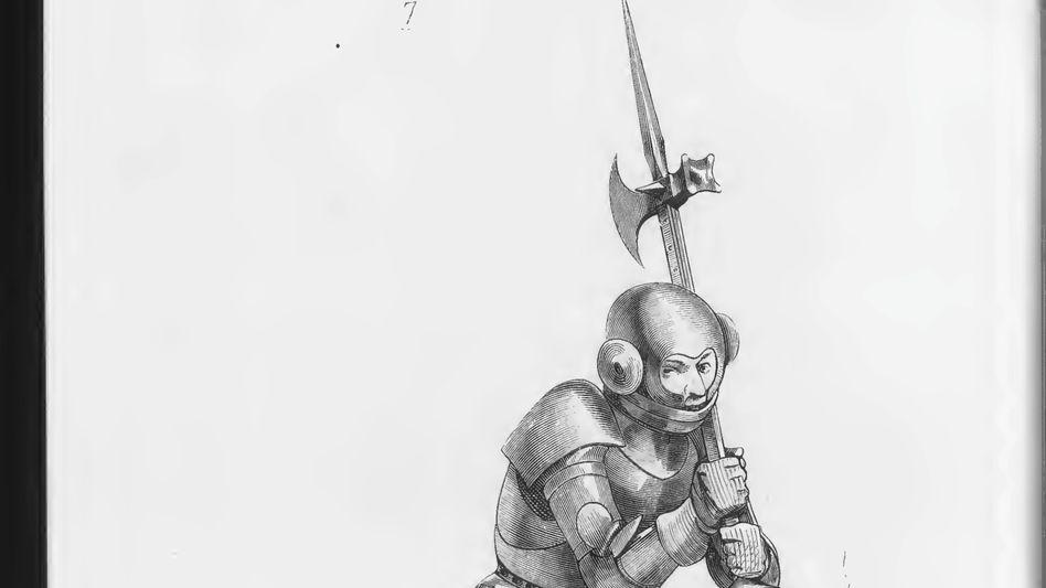 Spitz: Ein gepanzerter Krieger mit einer Mordaxt (Zeichnung von 1875)