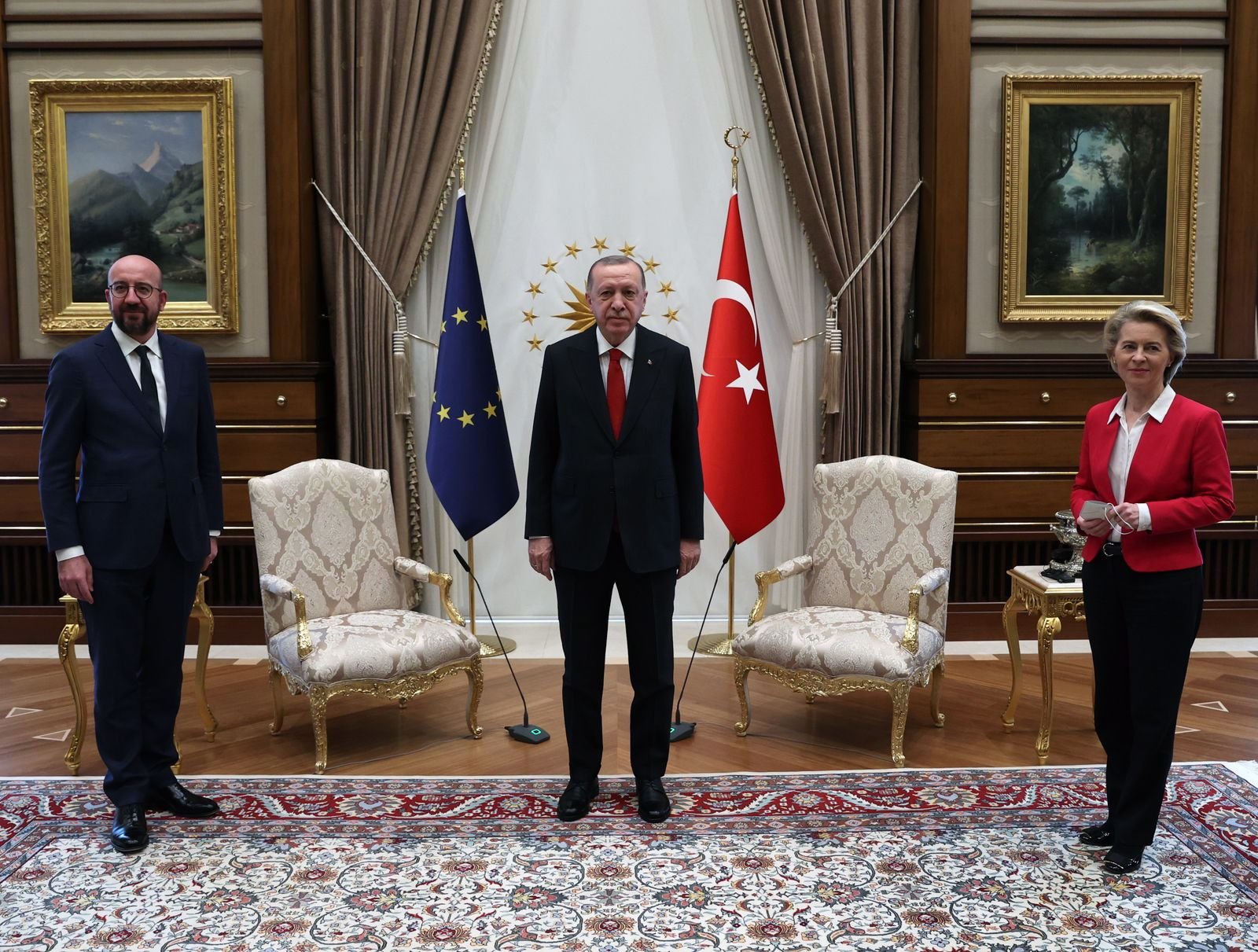 EU Council President Charles Michel and President of EU Commission Ursula Von der Leyen visit Turkey