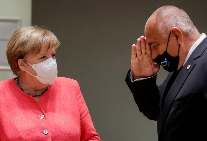 Kanzlerin Merkel und Regierungschef Borissow beim EU-Gipfel im Juli 2020