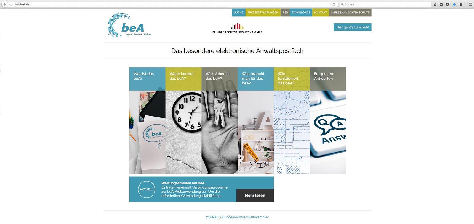 EINMALIGE VERWENDUNG NUR ALS ZITAT/ beA/ Screenshot