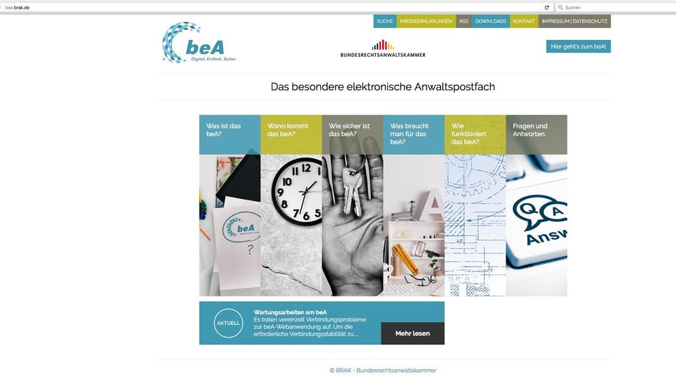 Website zum beA