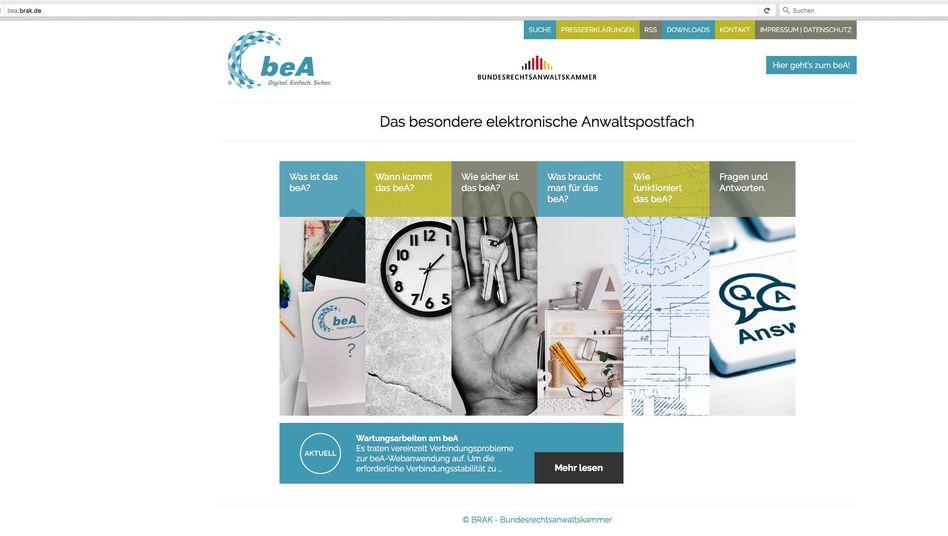 Screenshot der beA-Webseite