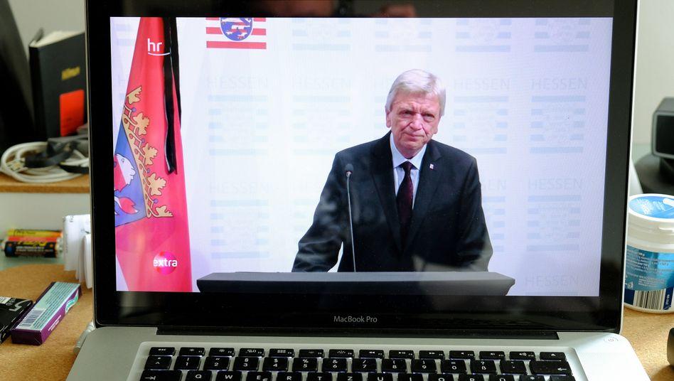Volker Bouffier: Wegen der Coronakrise übermittelte er seine Trauerbotschaft per Videoschalte
