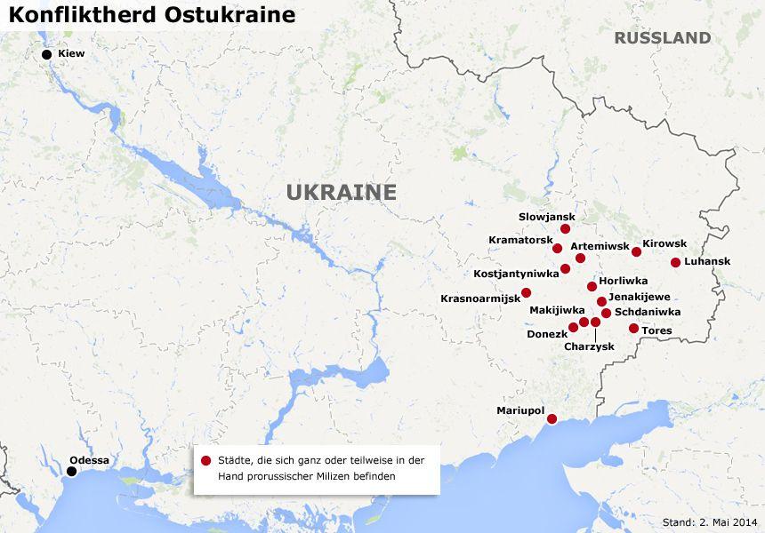 Karte Konfliktherd Ostukraine