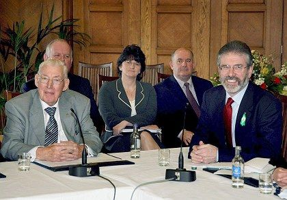 Ian Paisley (l) and Gerry Adams (r) met Monday for historic talks. It was the first time the two men had ever spoken to each other.