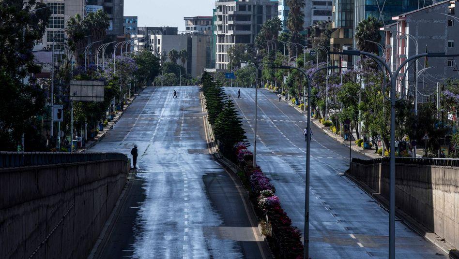 Leere Straßen in Addis Abeba, der Hauptstadt von Äthiopien