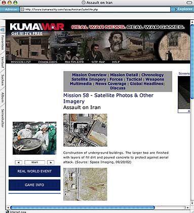 """Screenshot der """"Kuma""""-Seite: Militärische Satellitenbilder"""