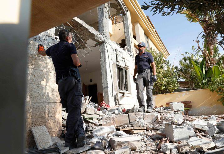 Zerstörtes Haus im israelischen Beer Scheva nach Raketenbeschuss
