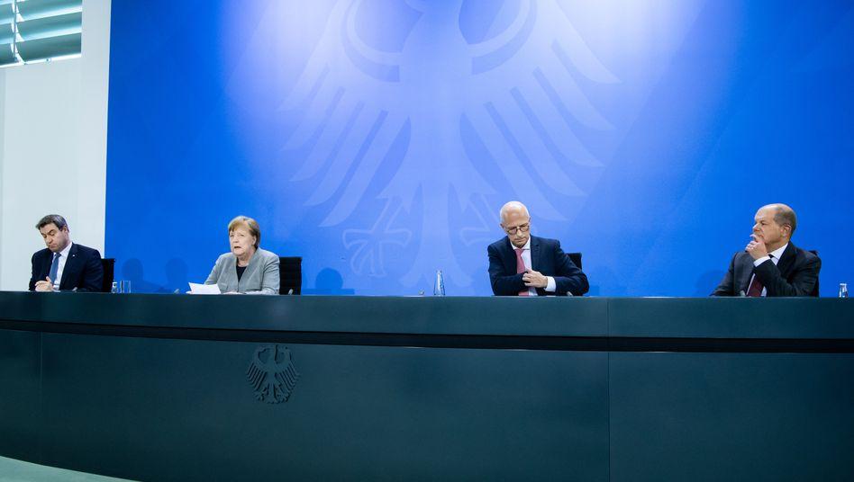 Markus Söder, Angela Merkel, Peter Tschentscher, Olaf Scholz