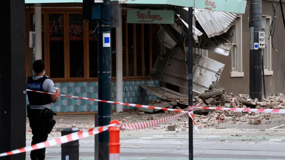 Chapel Street in Melbourne: Einsatzkräfte haben nach dem Erdbeben einen Straßenteil abgesperrt