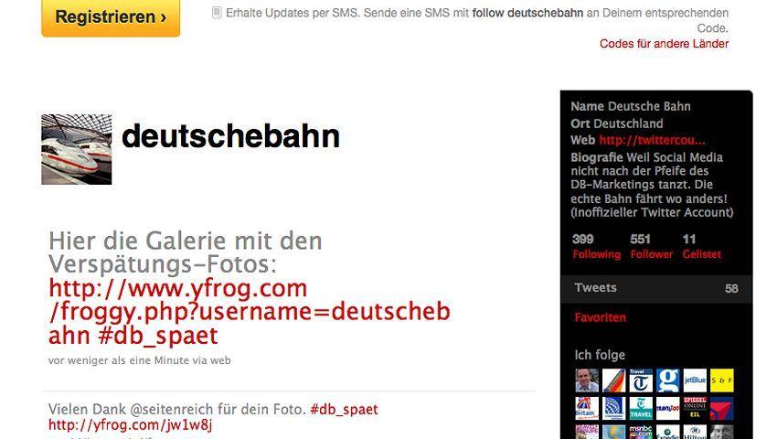 Twitter-Account @deutschebahn: Schabernack auf Kosten des Großkonzerns