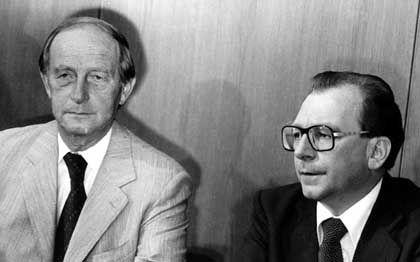 Filbinger 1978 nach seinem Rücktritt mit Nachfolger Lothar Späth