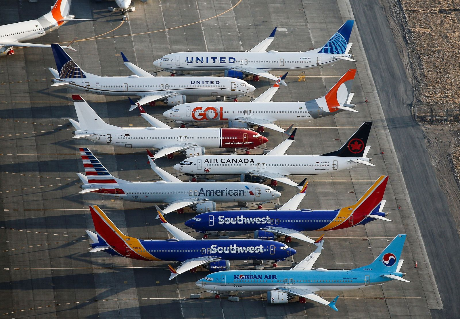 FILE PHOTO: An aerial photo shows Boeing 737 MAX aircraft at Boeing facilities at the Grant County International Airport in Moses Lake