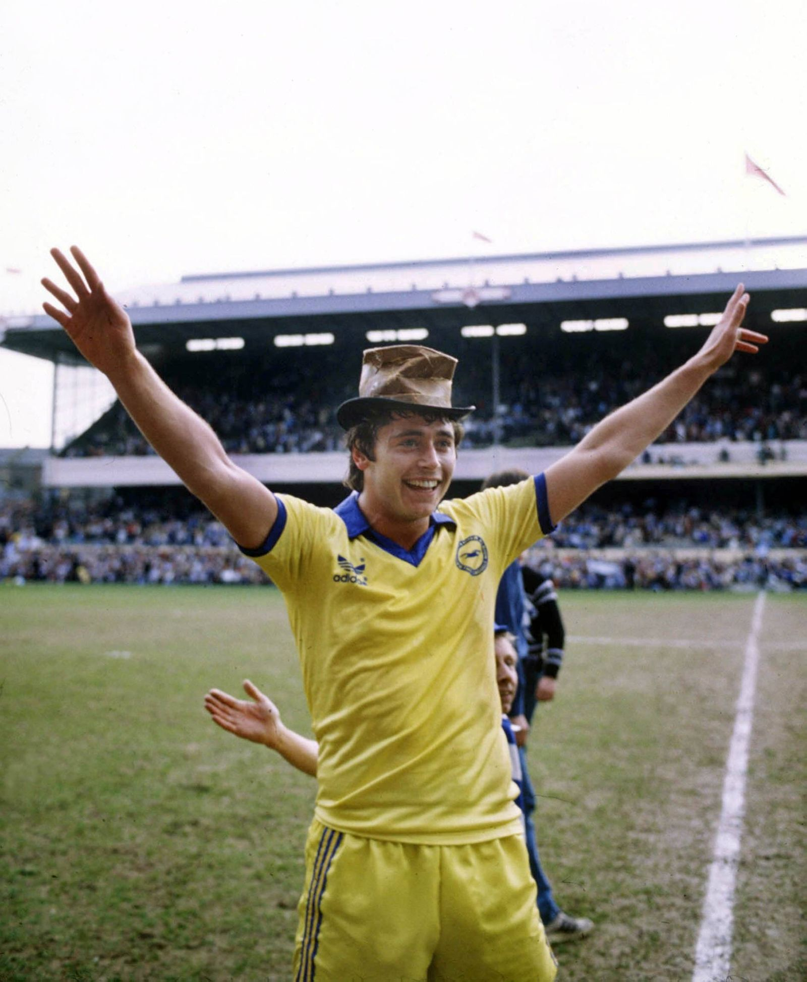 Michael Robinson (Brighton) celebrates their victory. Brighton and Hove Albion v Sheffield Wednesday.16/4/83 FA Cup Sem
