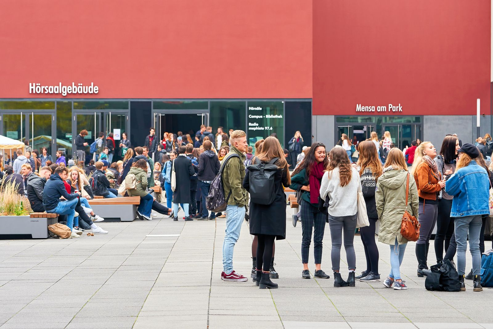 young students on the university campus in Leipzig