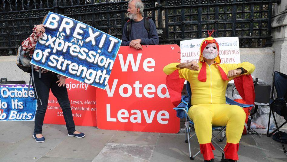 Demonstranten in London vor dem Parlament