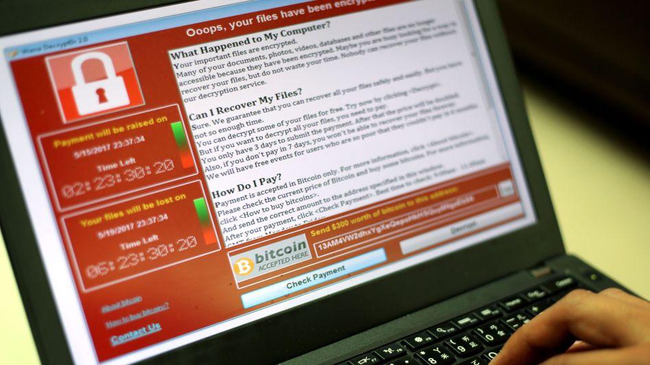 """""""WannaCry""""-Sperrbildschirm mit Lösegeldforderung"""