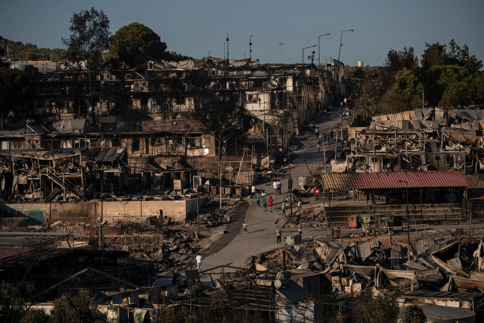 APTOPIX Greece Migrant Camp Blaze