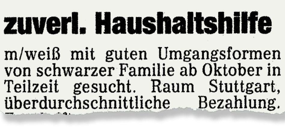 Anzeige in der »Süddeutschen Zeitung«