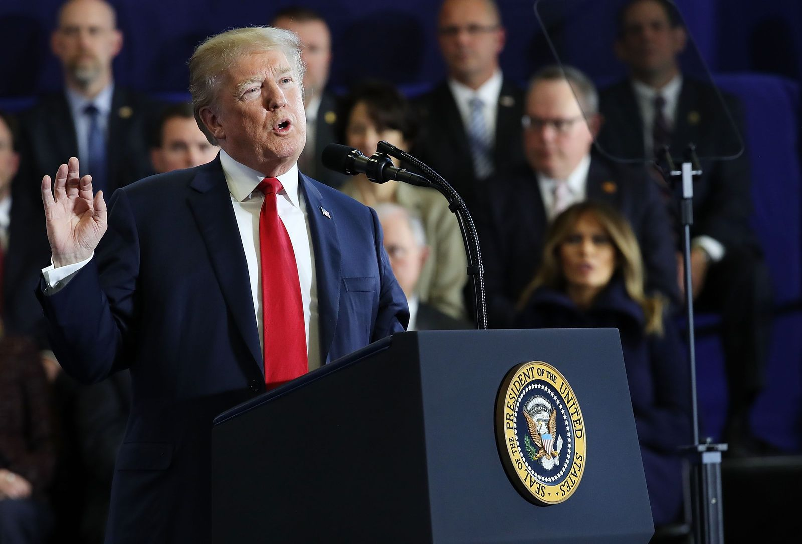 US-PRESIDENT-TRUMP-DELIVERS-REMARKS-AT-MANCHESTER-COMMUNITY-COLL