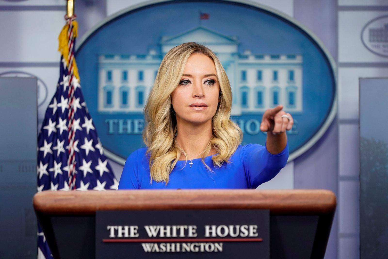 FILE PHOTO: White House Press Secretary McEnany speaks at the White House in Washington