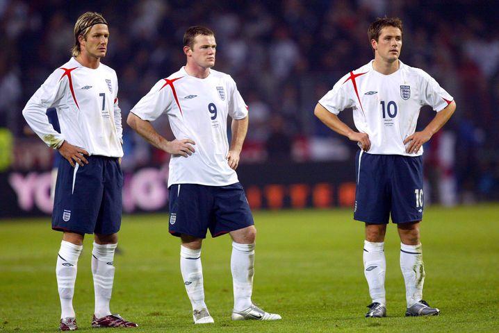 David Beckham, Wayne Rooney und Michael Owen bei einem Testspiel im Jahr 2005