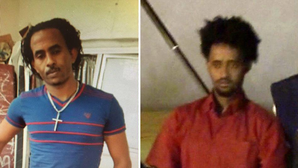 """Links: Mered Medhanie, Menschenschmuggler und der """"General"""". Rechts: Medhanie Tesfamariam Behre, der anstelle von Mered drei Jahre im Gefängnis saß."""