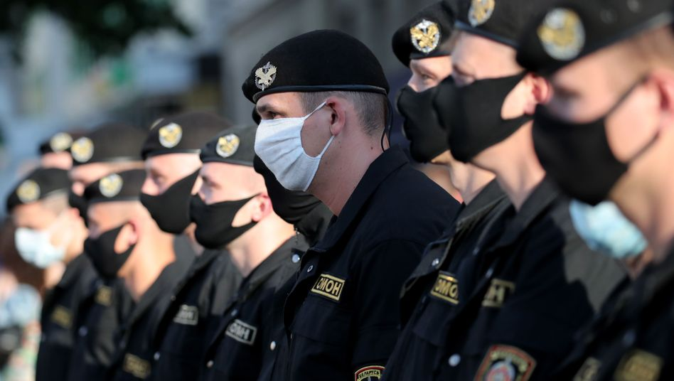 Polizeiaufgebot während der Demonstrationen in Minsk