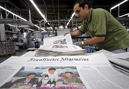 """Zeitungsdruckerei (mit """"FAZ"""" im neuen Gewand): Bodenverlust gegenüber Online-Medien"""