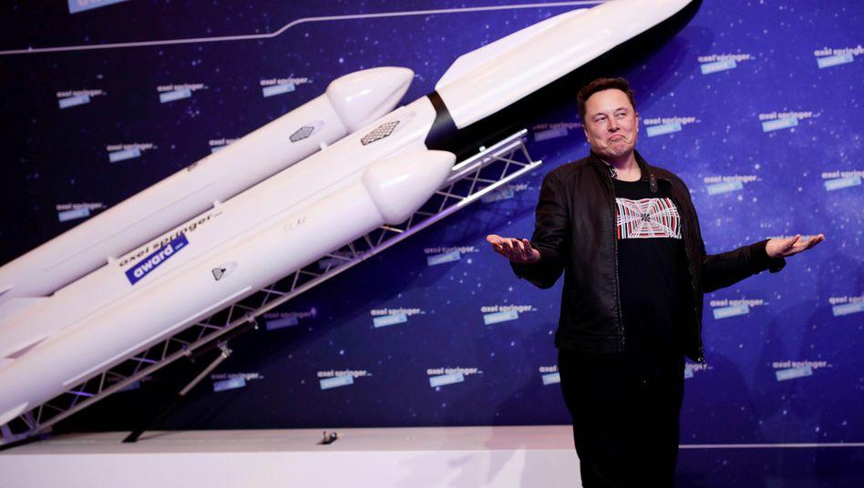 Elon Musk bei einer Preisverleihung in Berlin, Dezember 2020
