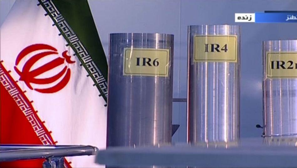 Das Standbild des TV-Senders IRIB zeigt drei Zentrifugen in der Atomanlage Natanz