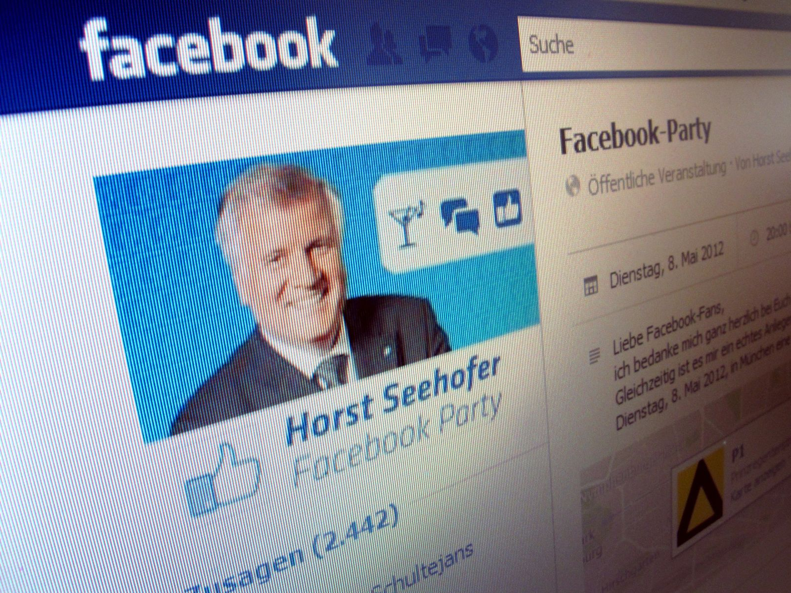 Seehofer lädt zu Facebook-Party