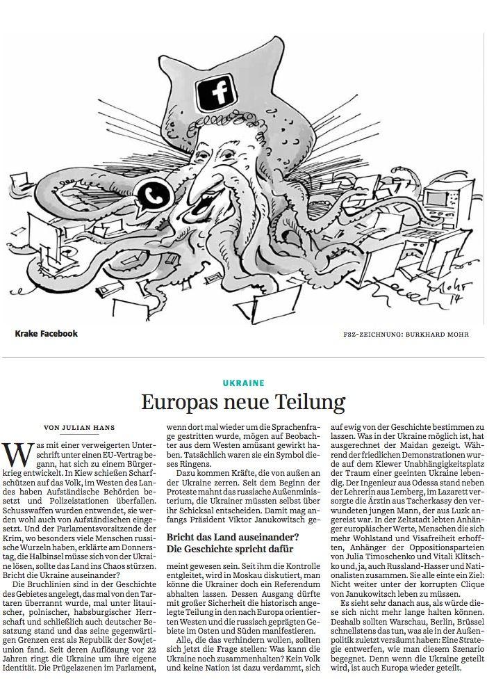 """Ausriss aus der """"Süddeutsche Zeitung"""" vom 21. Februar 2014: Jüdische Hakennasen-Krake greift sich die Datenwelt?"""
