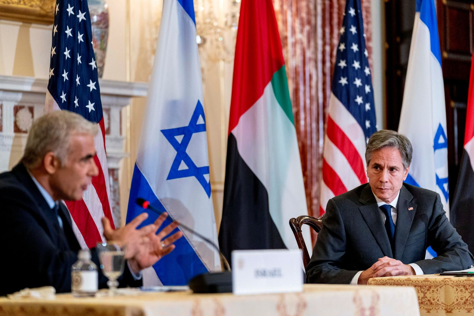 U.S.'s Blinken hosts trilateral meeting with Israel's Lapid and UAE's Bin Zayed