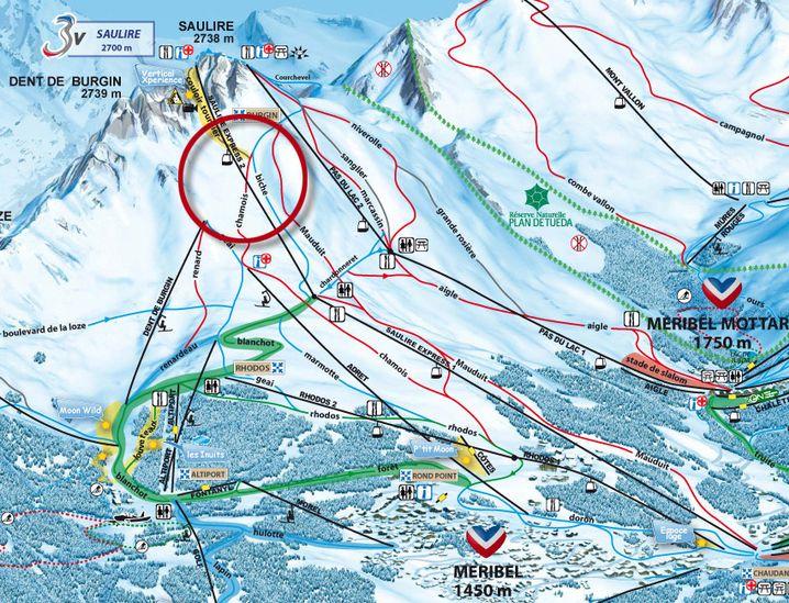 """Unfallort im Skigebiet Trois Vallèes: Schumacher verunglückte in der Nähe der Piste """"Biche"""""""