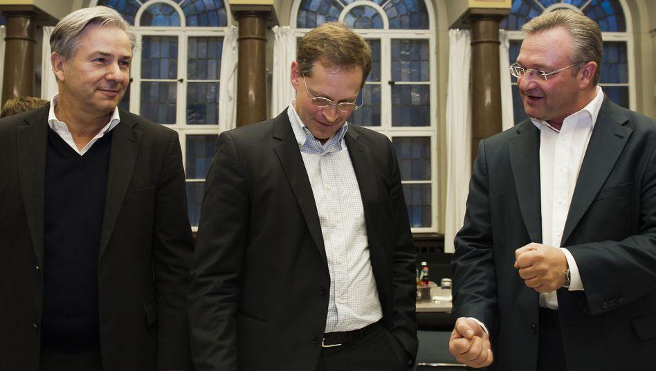 Berliner Spitzenpolitiker Klaus Wowereit, Michael Müller und Frank Henkel: Rot-Schwarz