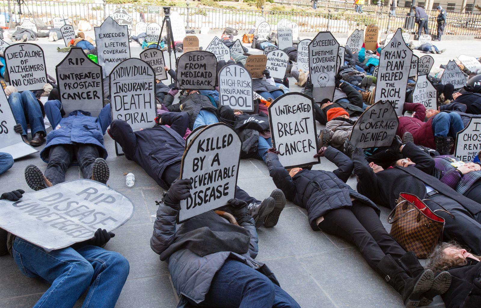 Demo gegen Abschaffung von «Obamacare» in New York